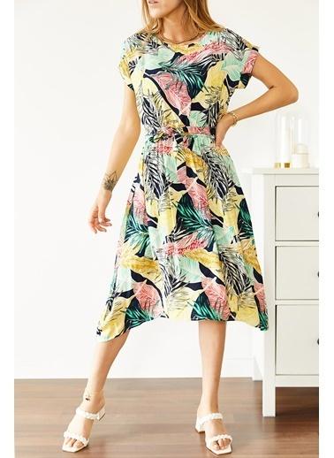 XHAN Multi Beli Lastikli Asimetrik Çiçek Desenli Elbise 0Yxk6-43870-08 Renkli